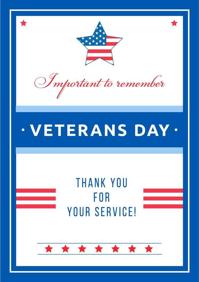 poster dell'evento del giorno dei veterani vettore