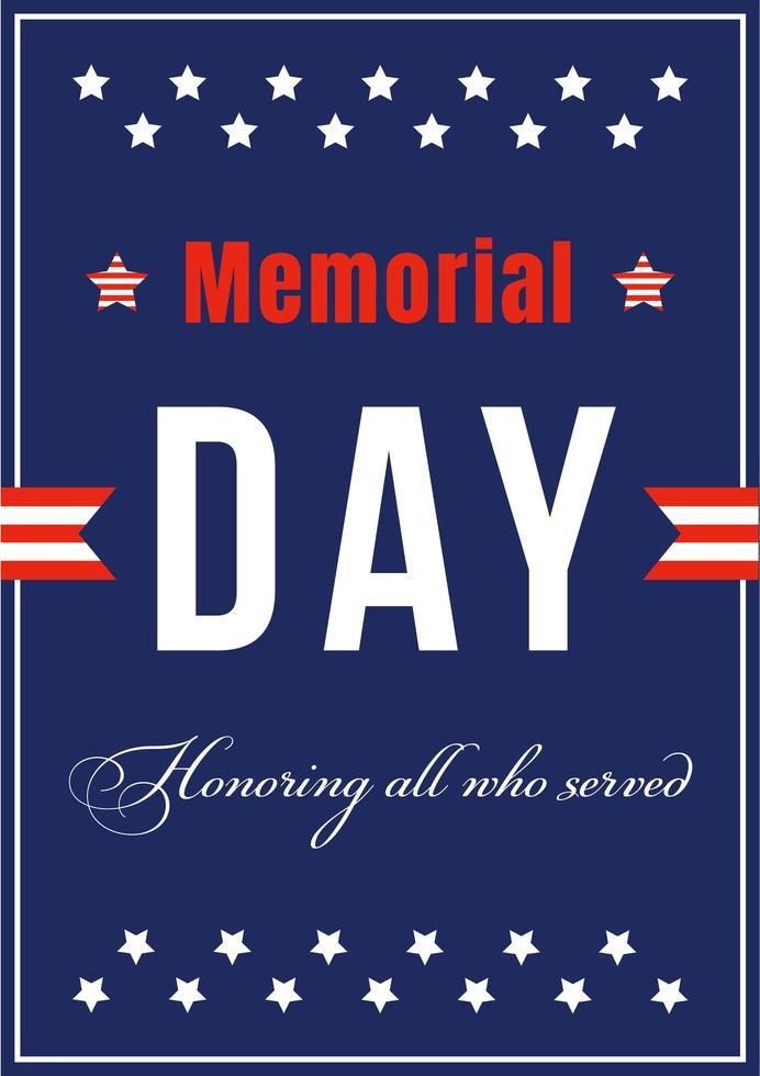 poster del memorial day nazionale americano vettore