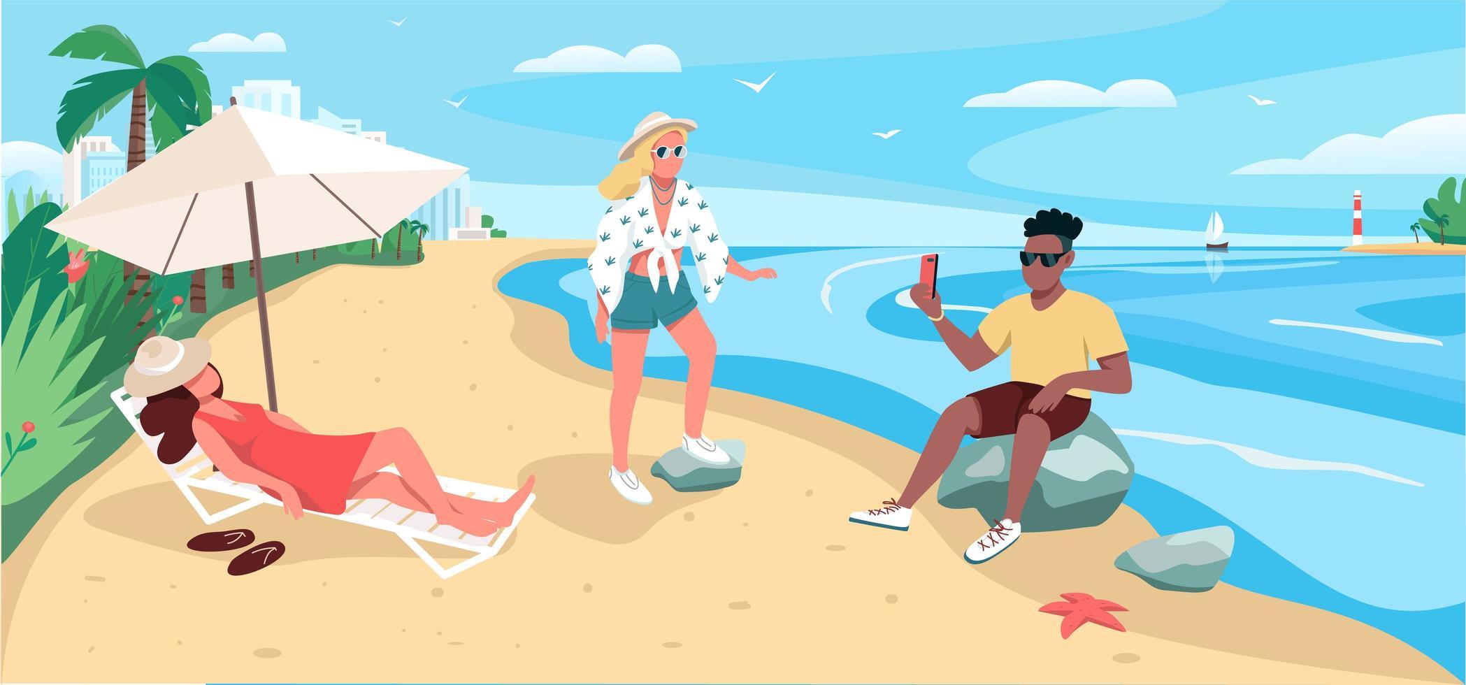 amici che si rilassano alla spiaggia sabbiosa vettore