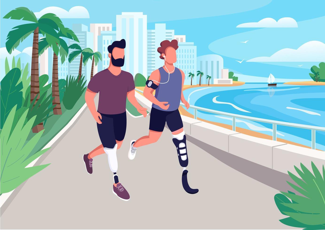 persone che fanno jogging sul lungomare vettore