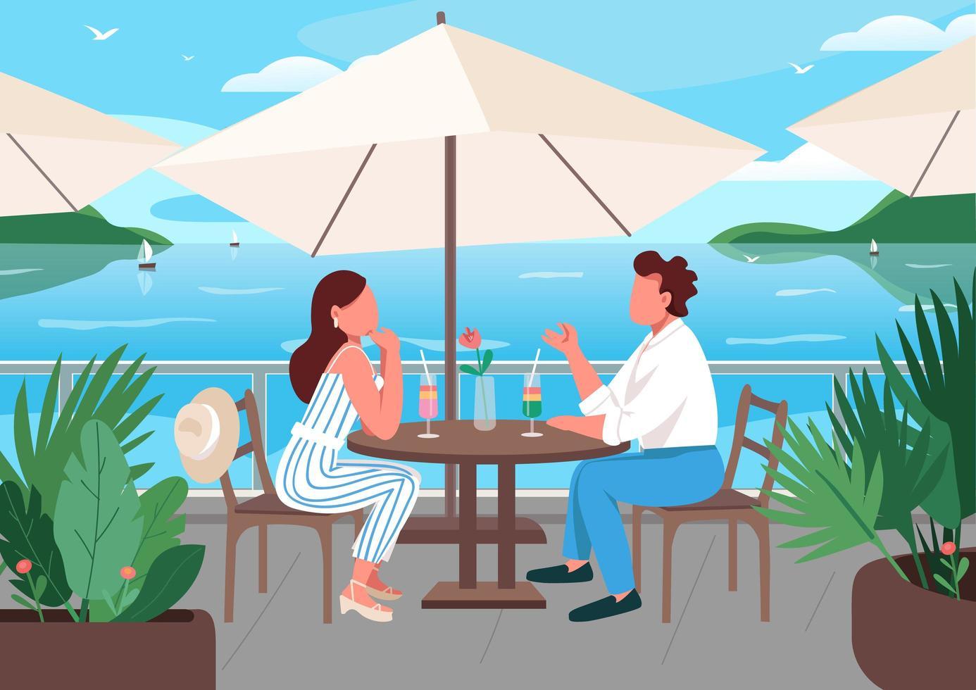 amici facendo colazione nella caffetteria località balneare vettore