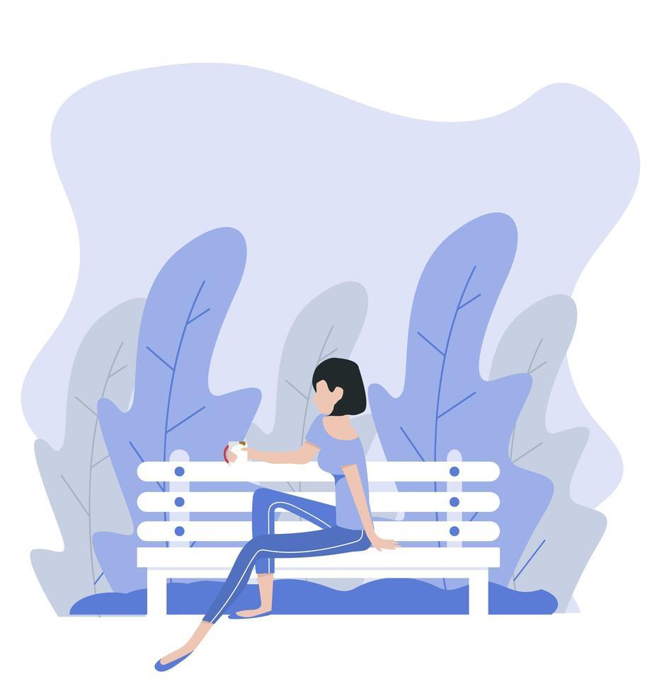 donna seduta panchina sullo sfondo della natura vettore
