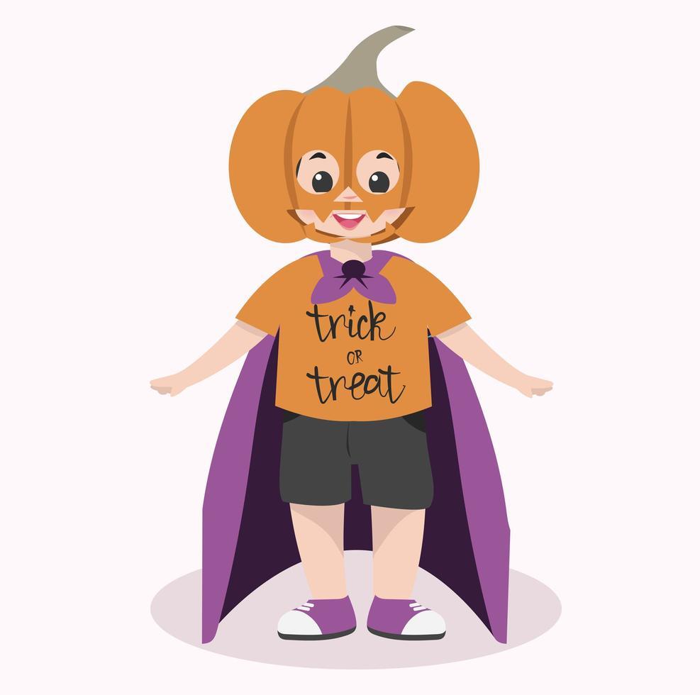 simpatico personaggio di halloween per bambini che indossa una maschera di zucca vettore
