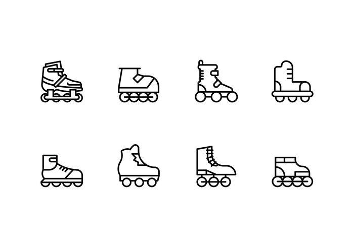 Rollerblade imposta icone lineari vettore