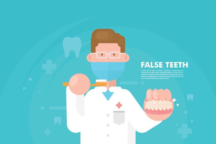 Illustrazione dei denti falsi vettore