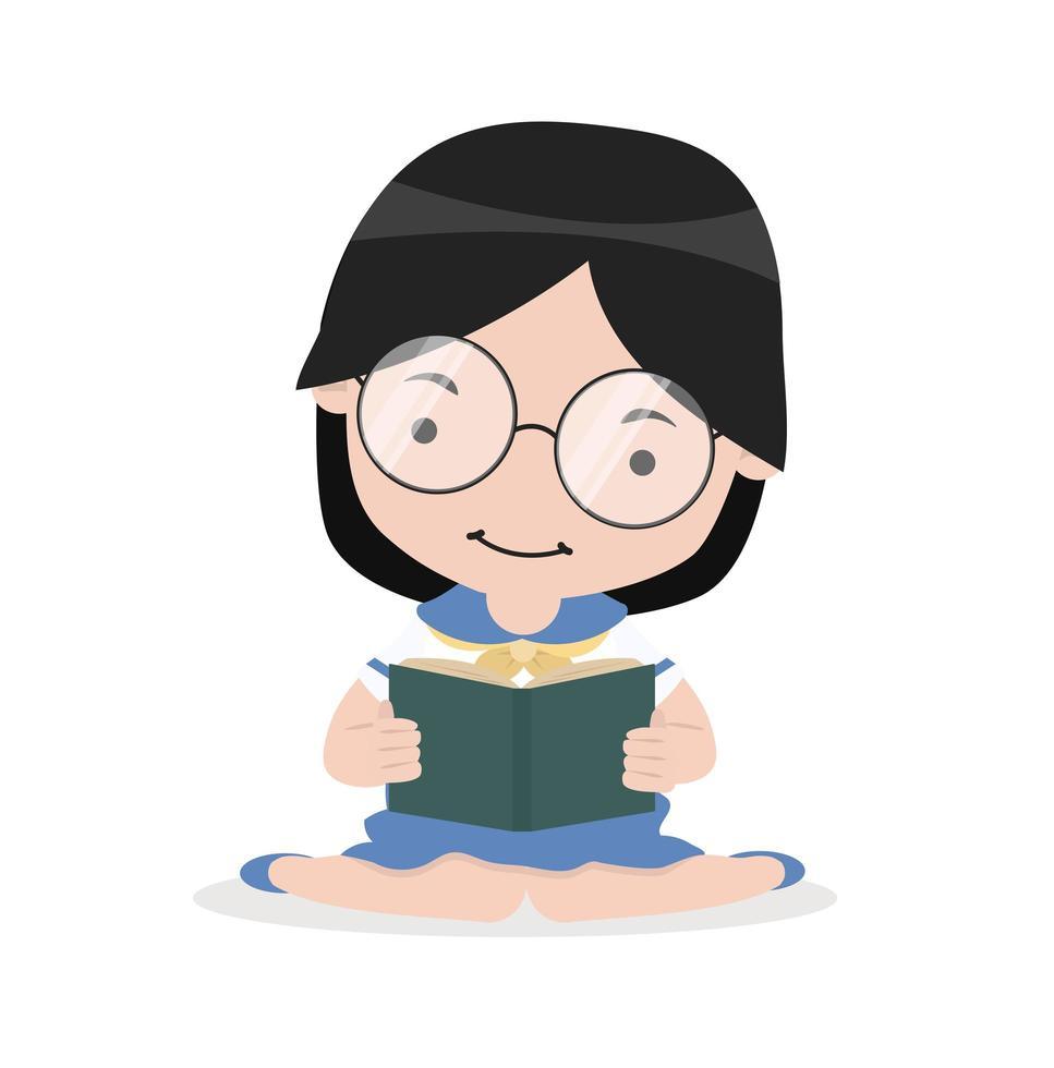 ragazza sedersi sul pavimento e leggere il libro vettore