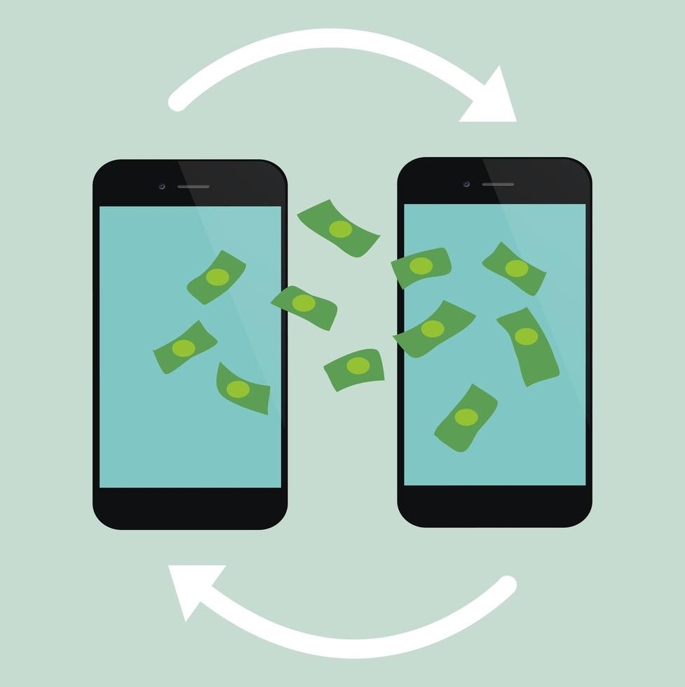 processo di trasferimento di denaro sui telefoni cellulari vettore