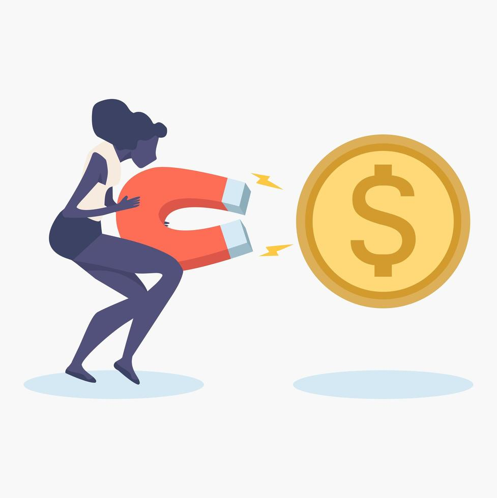 womans tenendo grande magnete per attirare denaro vettore