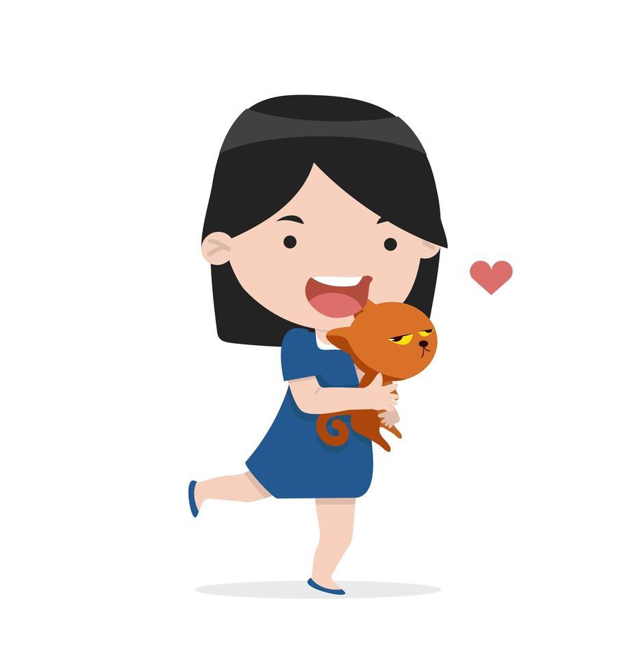 ragazza carina abbraccio gatto con amore vettore