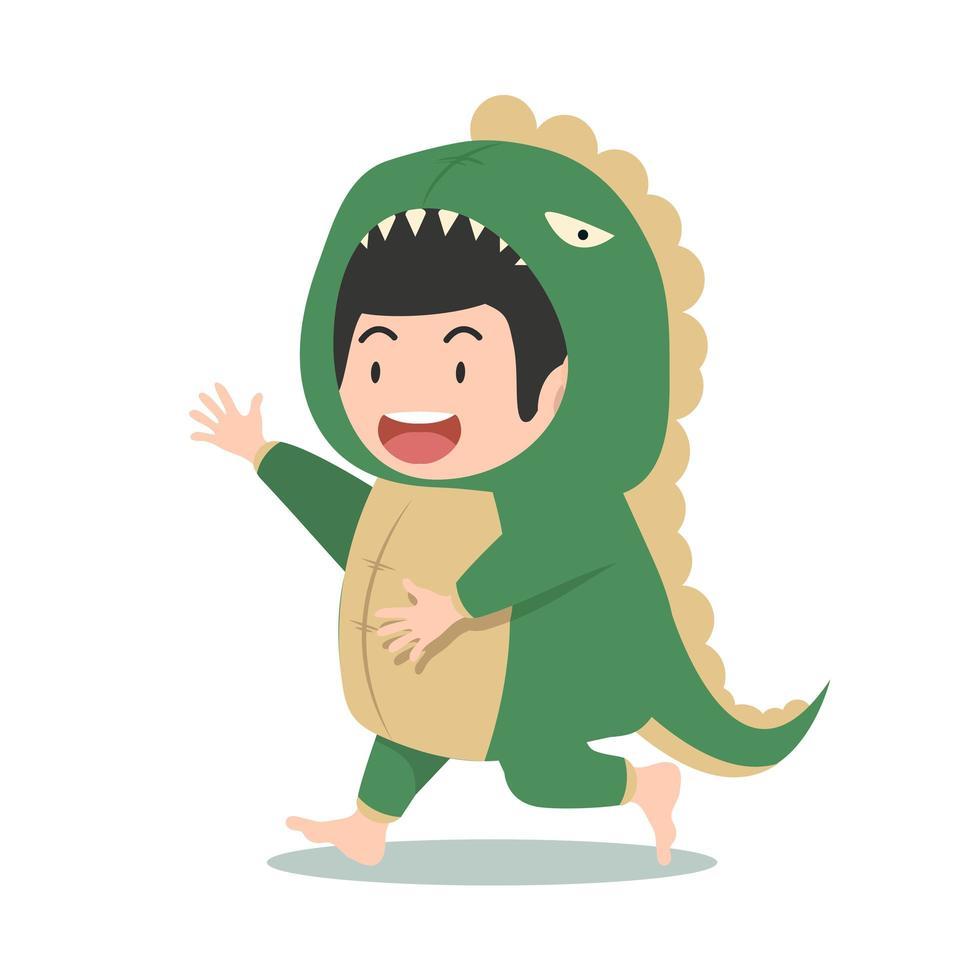 ragazzo carino in costume da dinosauro vettore