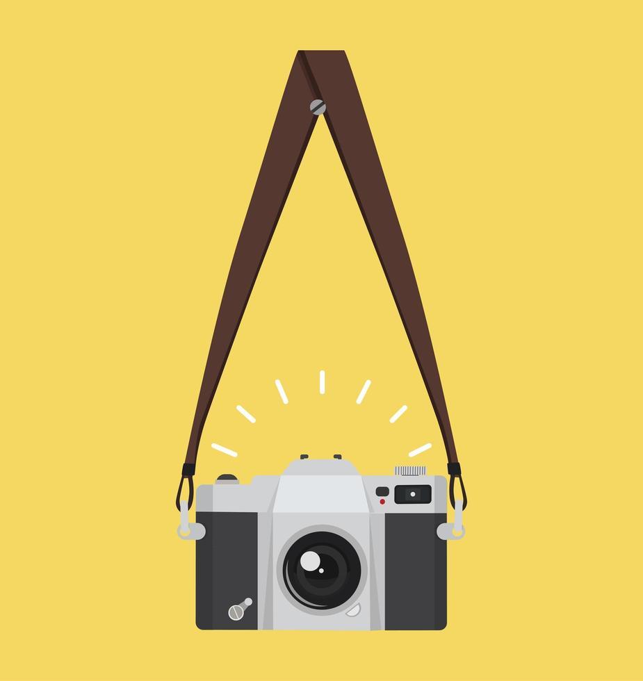 appesa vecchia macchina fotografica in uno stile piatto con cinturino vettore