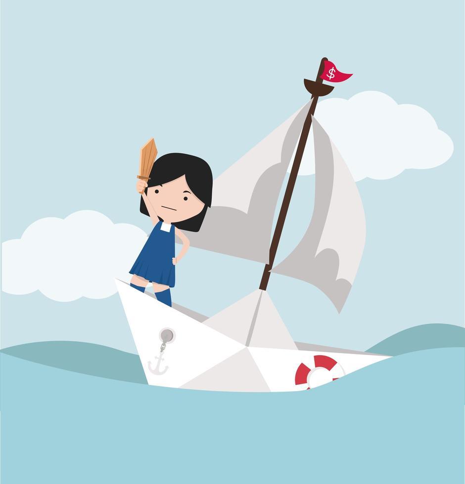 piccola ragazza con la spada in piedi sulla barchetta di carta vettore