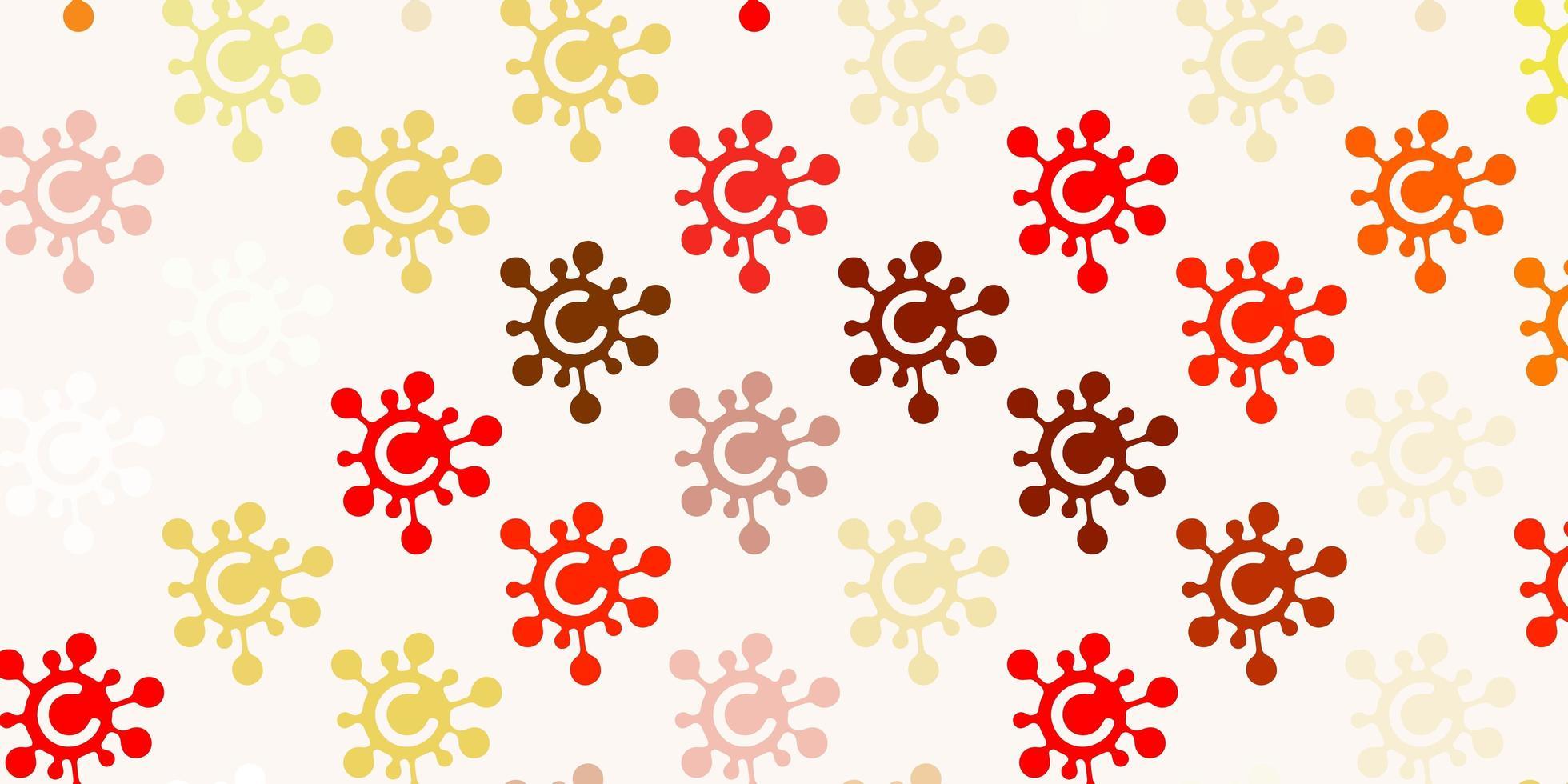 rosso chiaro, trama gialla con simboli di malattia. vettore