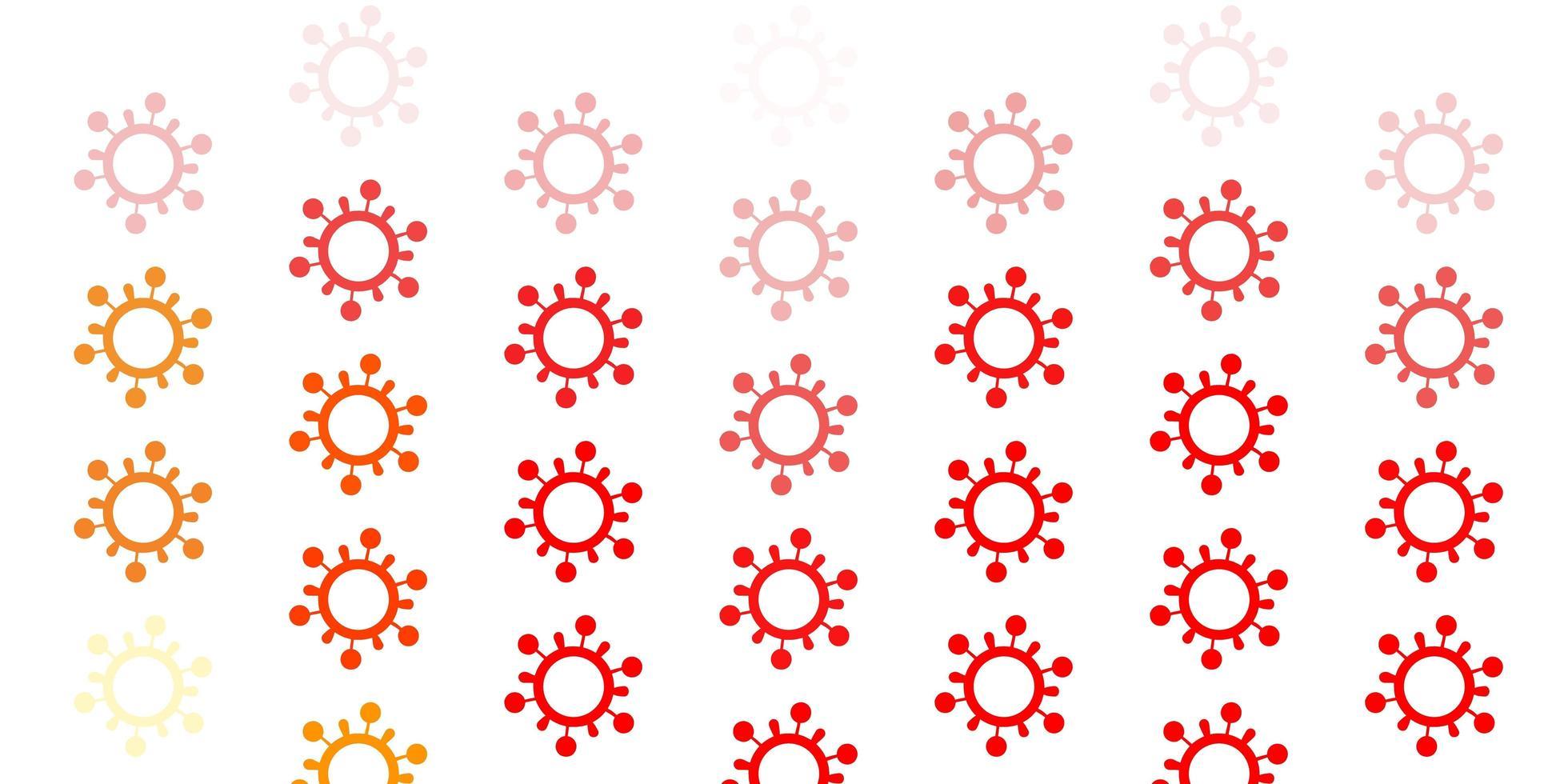 sfondo rosso chiaro, giallo con simboli di virus. vettore