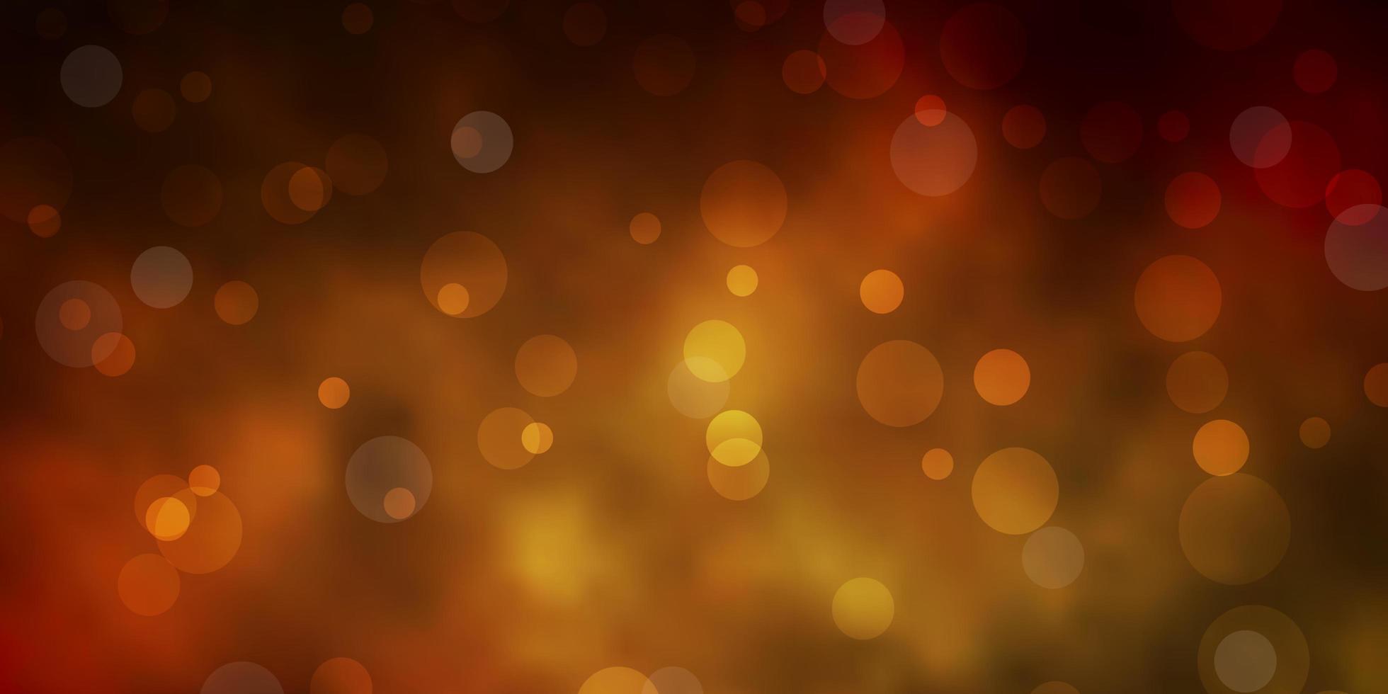 sfondo vettoriale giallo scuro con cerchi.
