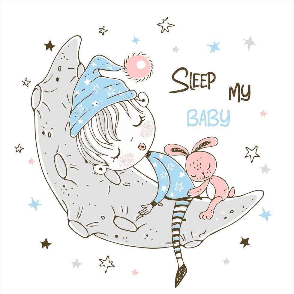 ragazzino sveglio che dorme dolcemente sulla luna vettore