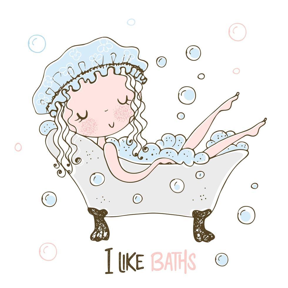 ragazza carina prende un bagno di bolle vettore