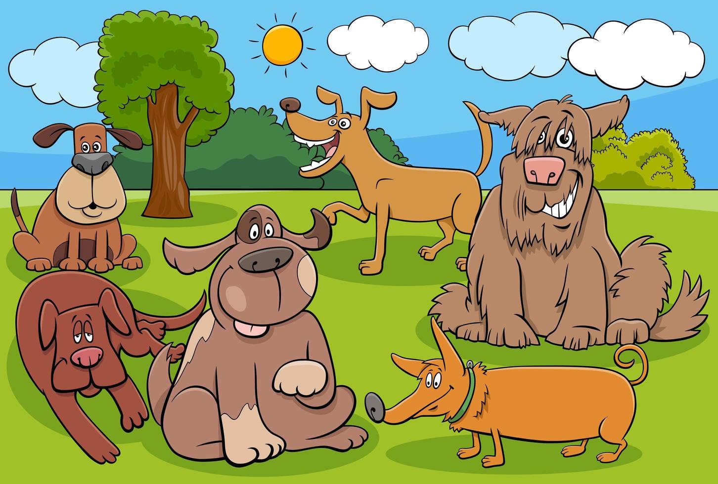 gruppo di personaggi divertenti di cani e cuccioli dei cartoni animati vettore