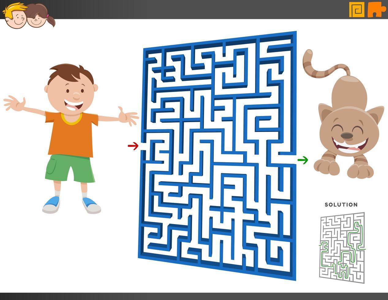 gioco del labirinto con cartone animato ragazzo e gattino vettore