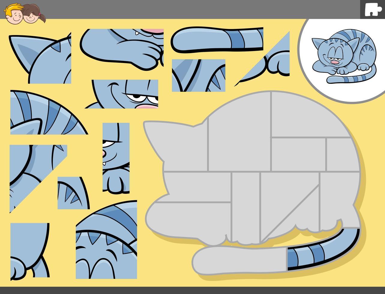 gioco di puzzle con personaggio dei cartoni animati di gatto vettore