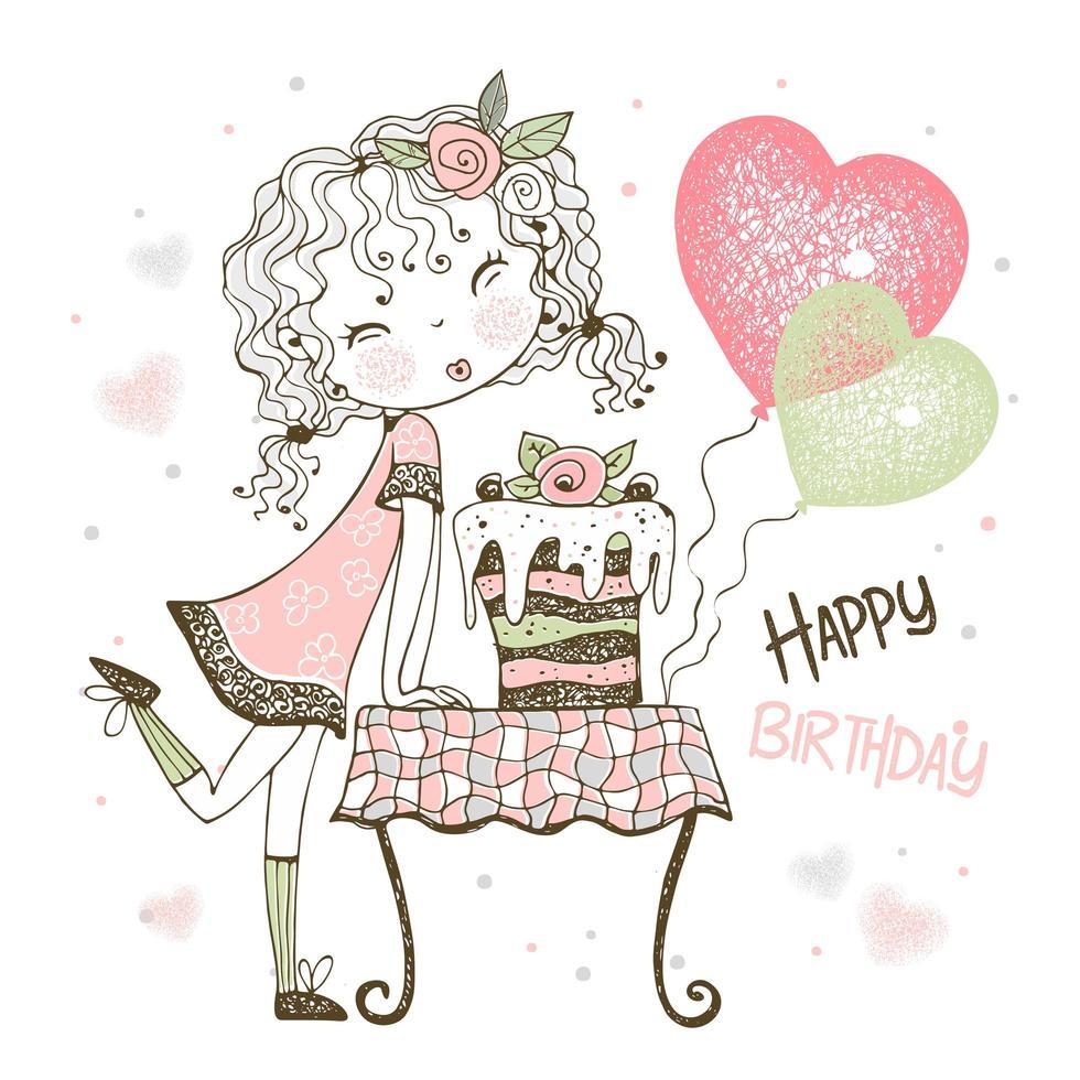 carta di compleanno con ragazza con torta e palloncini vettore