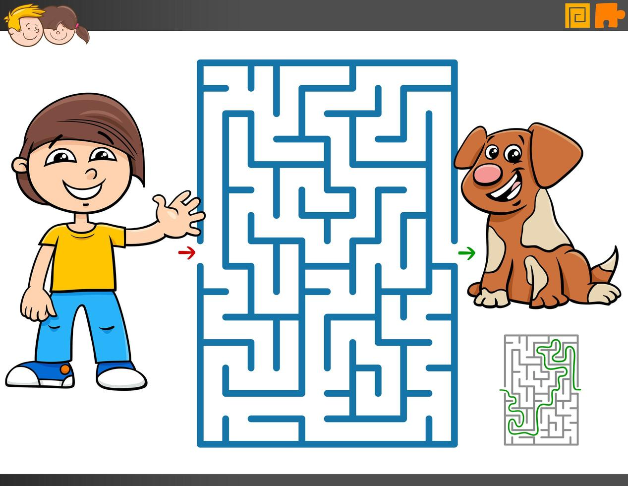 gioco del labirinto con cartone animato ragazzo e cucciolo vettore