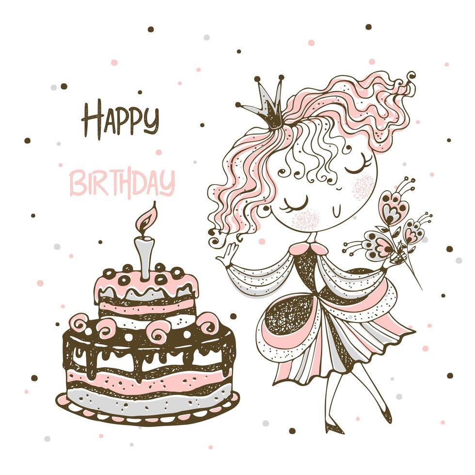 principessa e una grande torta di compleanno. biglietto d'auguri vettore
