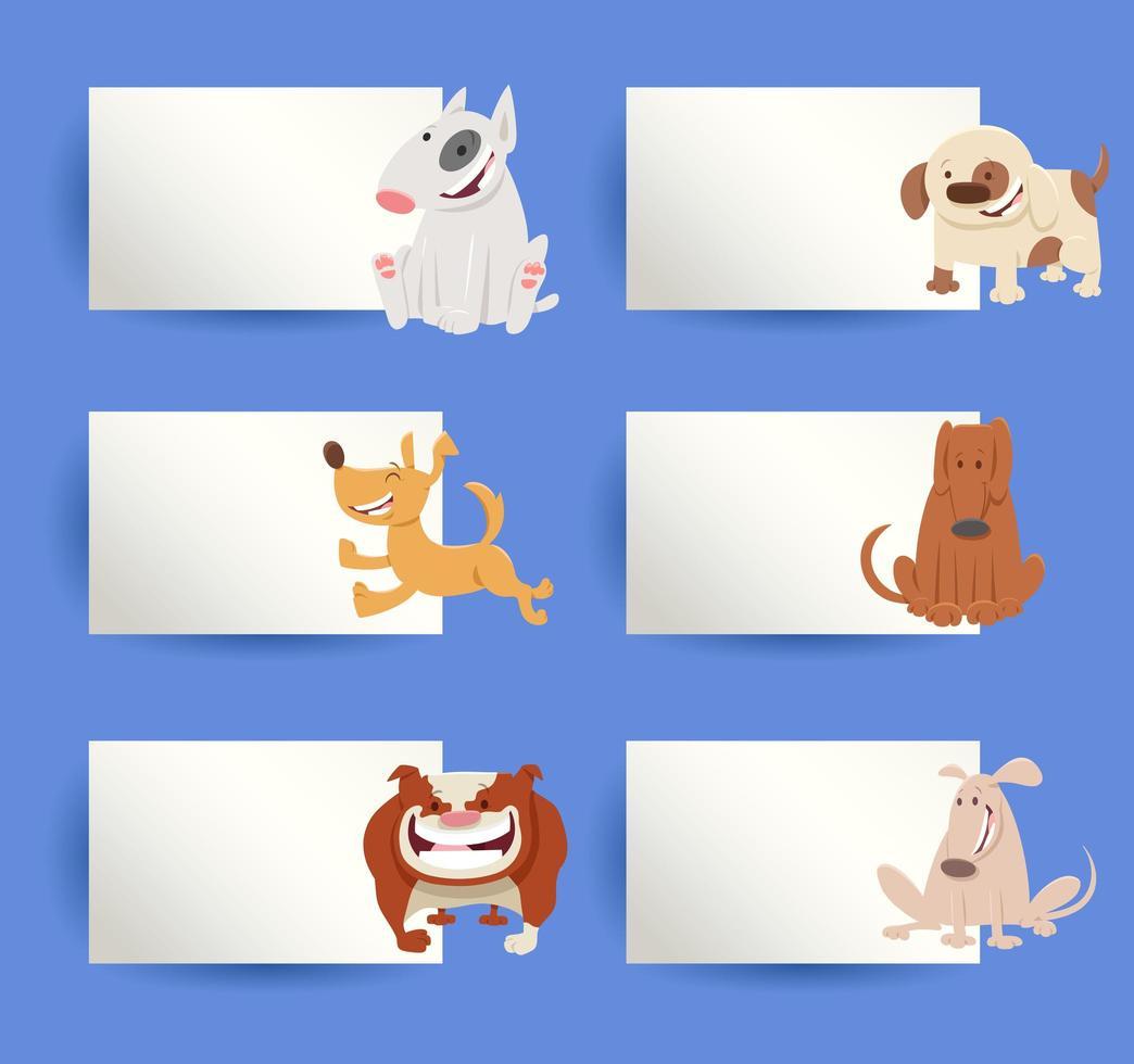insieme di elementi di disegno del fumetto di cani e carte vettore