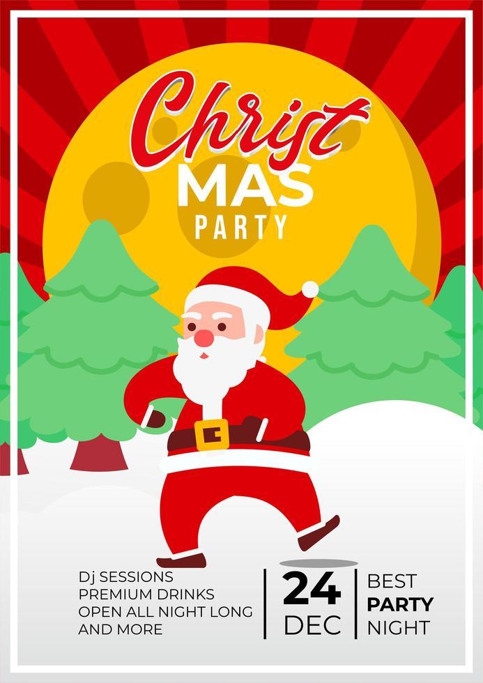 design di poster di eventi festa di Natale con Babbo Natale carino vettore
