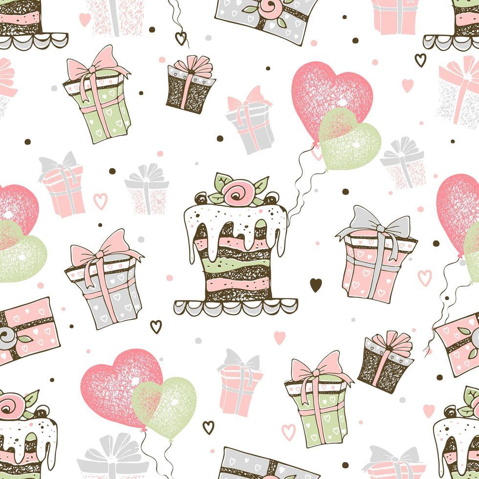 tema di compleanno con torte e regali vettore