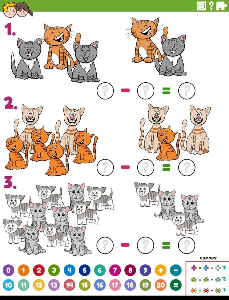 sottrazione matematica compito educativo con i gatti vettore