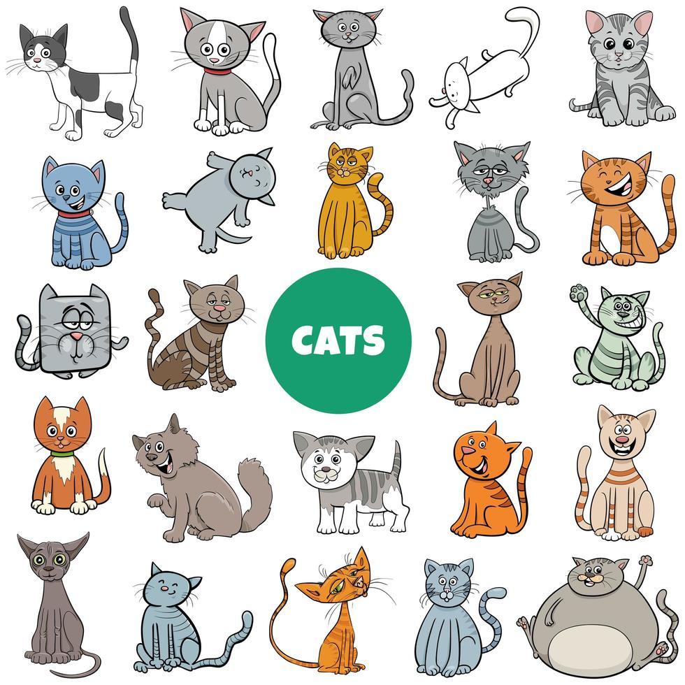 grande set di personaggi di gatti e gattini dei cartoni animati vettore