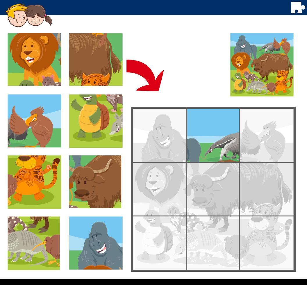 gioco di puzzle con personaggi dei cartoni animati degli animali vettore