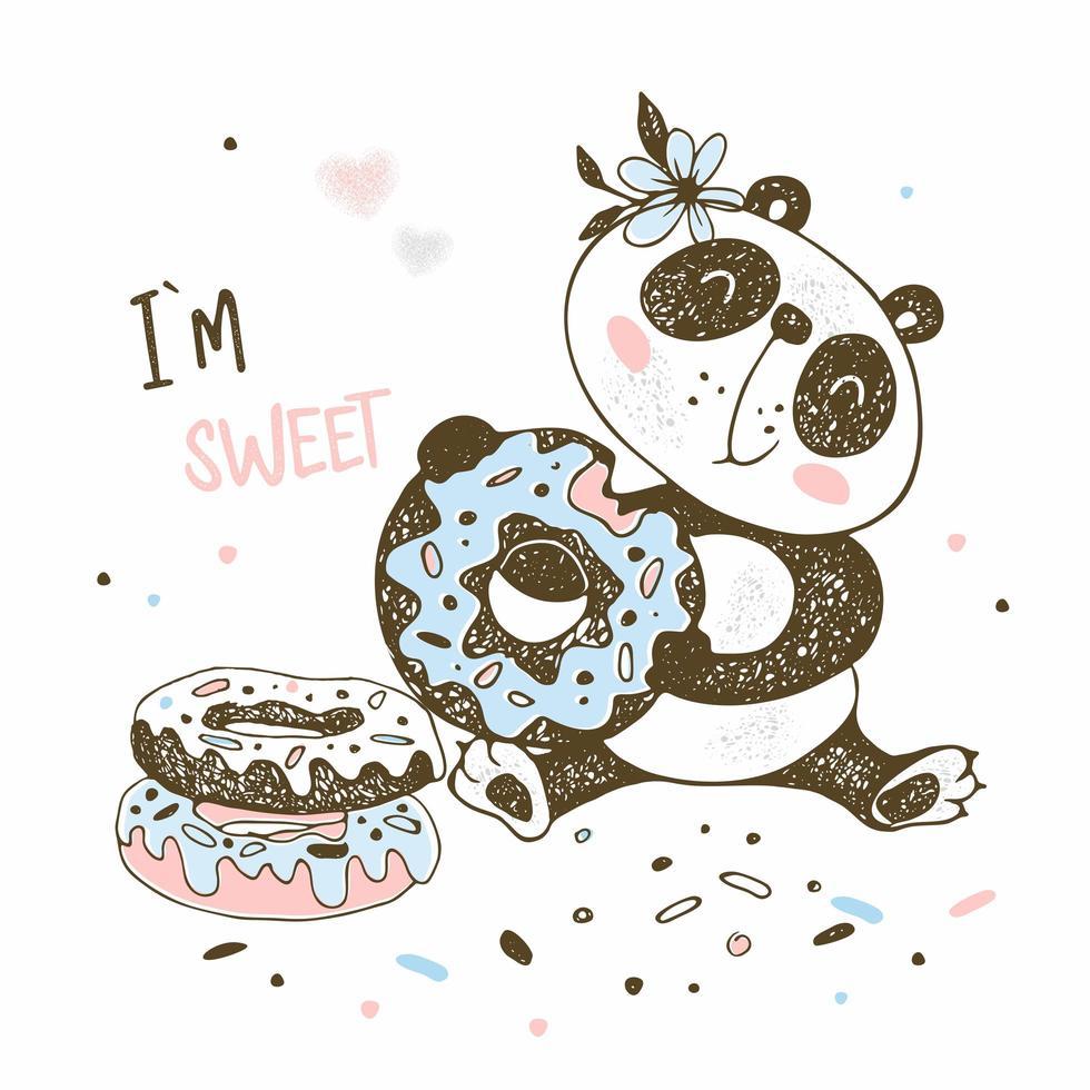 carino piccolo panda mangia ciambelle dolci vettore
