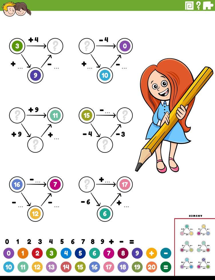 pagina del foglio di lavoro educativo di calcolo matematico vettore