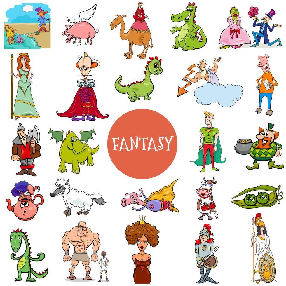 grande set di personaggi di fantasia e fiaba dei cartoni animati vettore