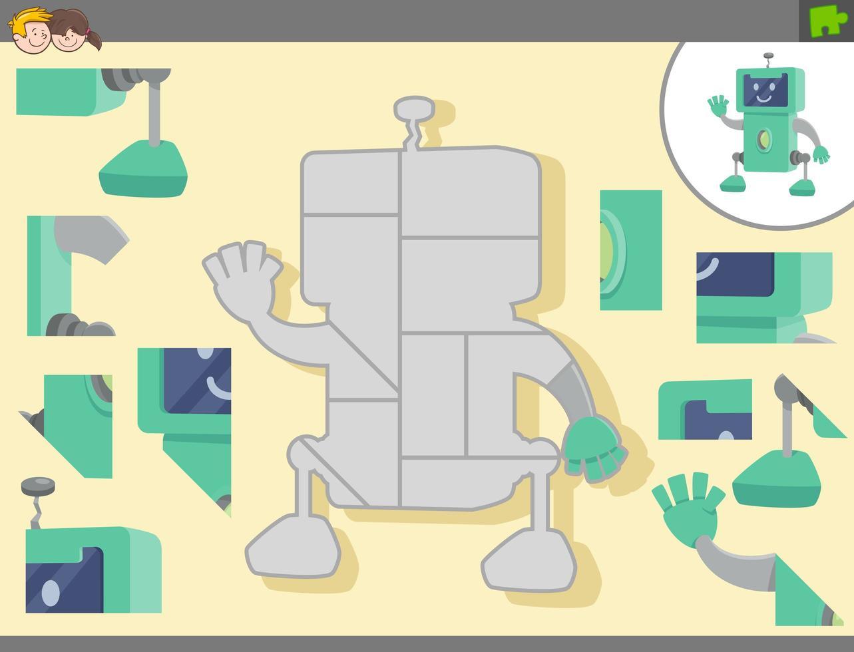 gioco di puzzle con robot dei cartoni animati vettore
