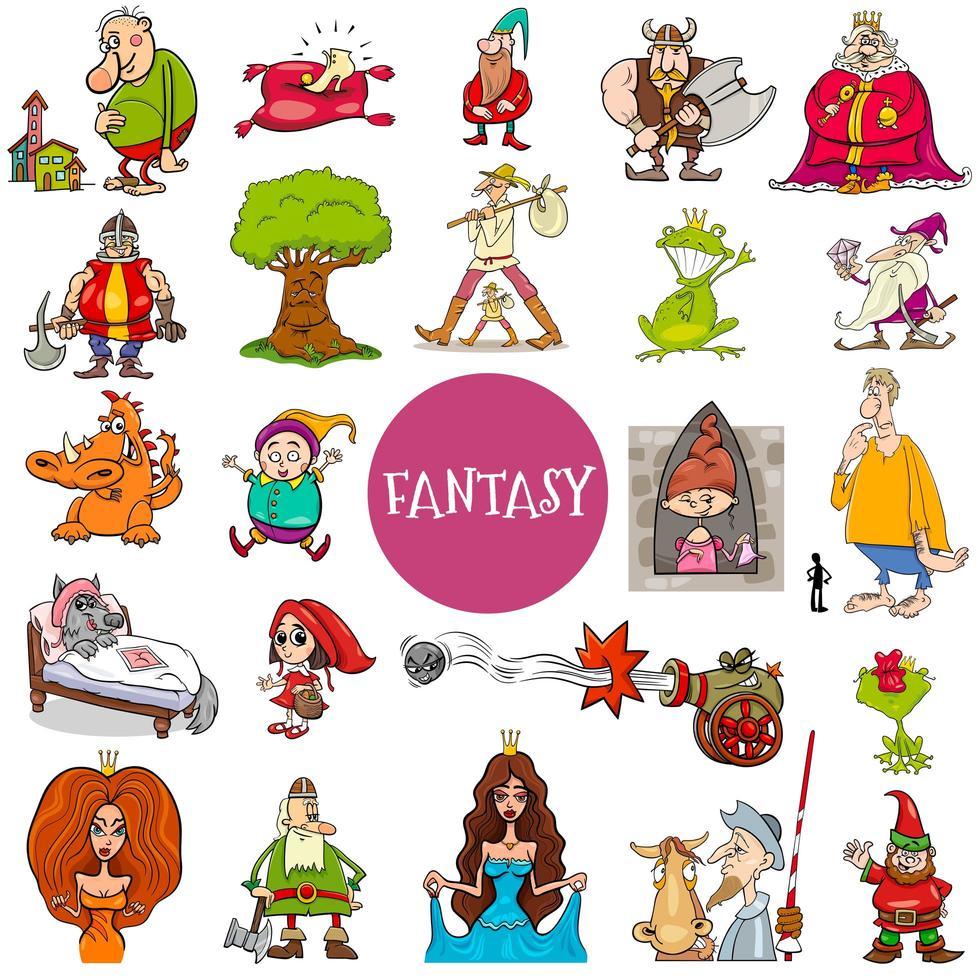 grande set di personaggi di fantasia e fiaba vettore