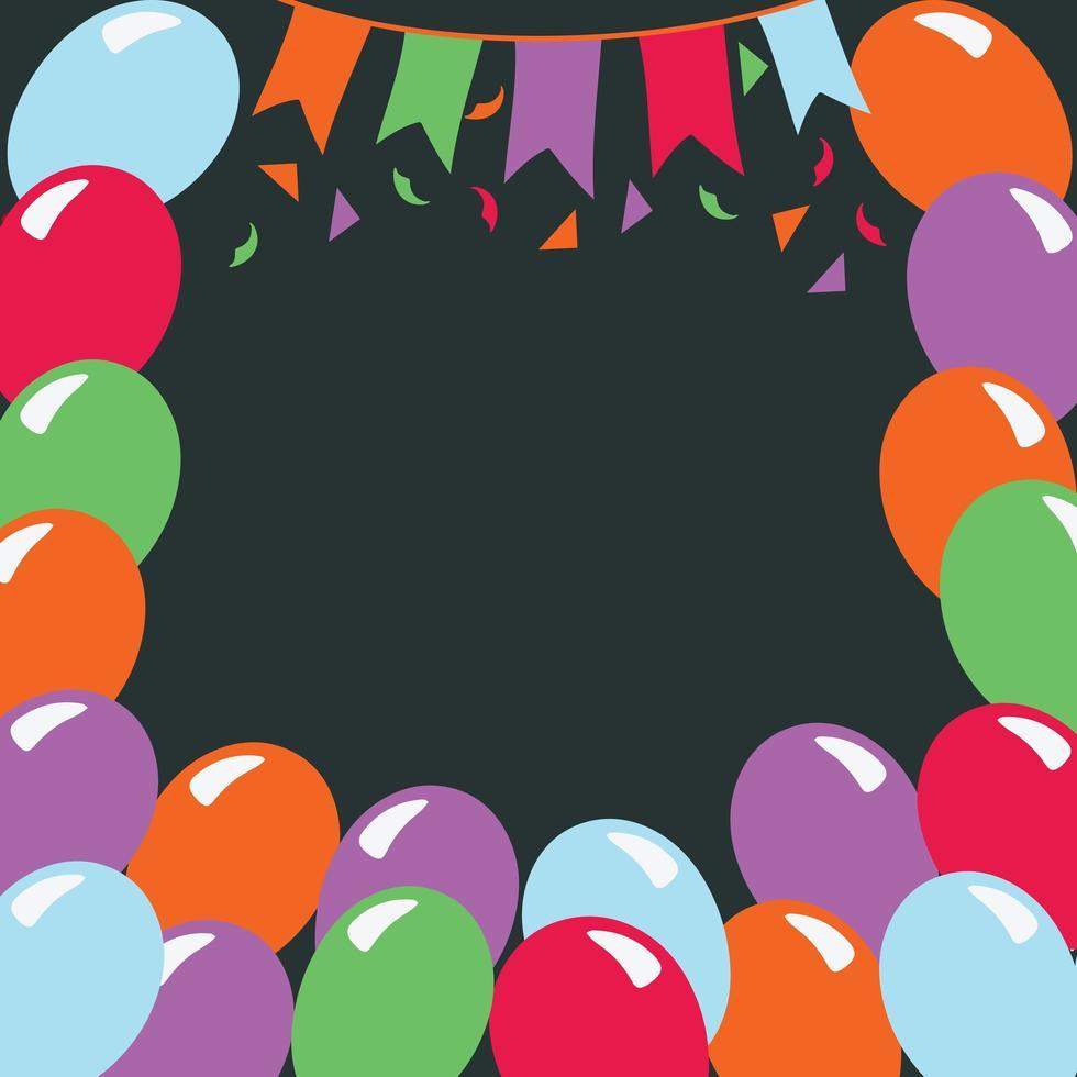 cornice di festa di compleanno sfondo scuro vettore