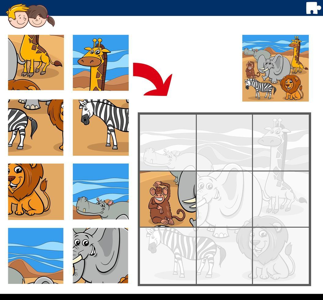 gioco di puzzle con personaggi di animali selvatici vettore