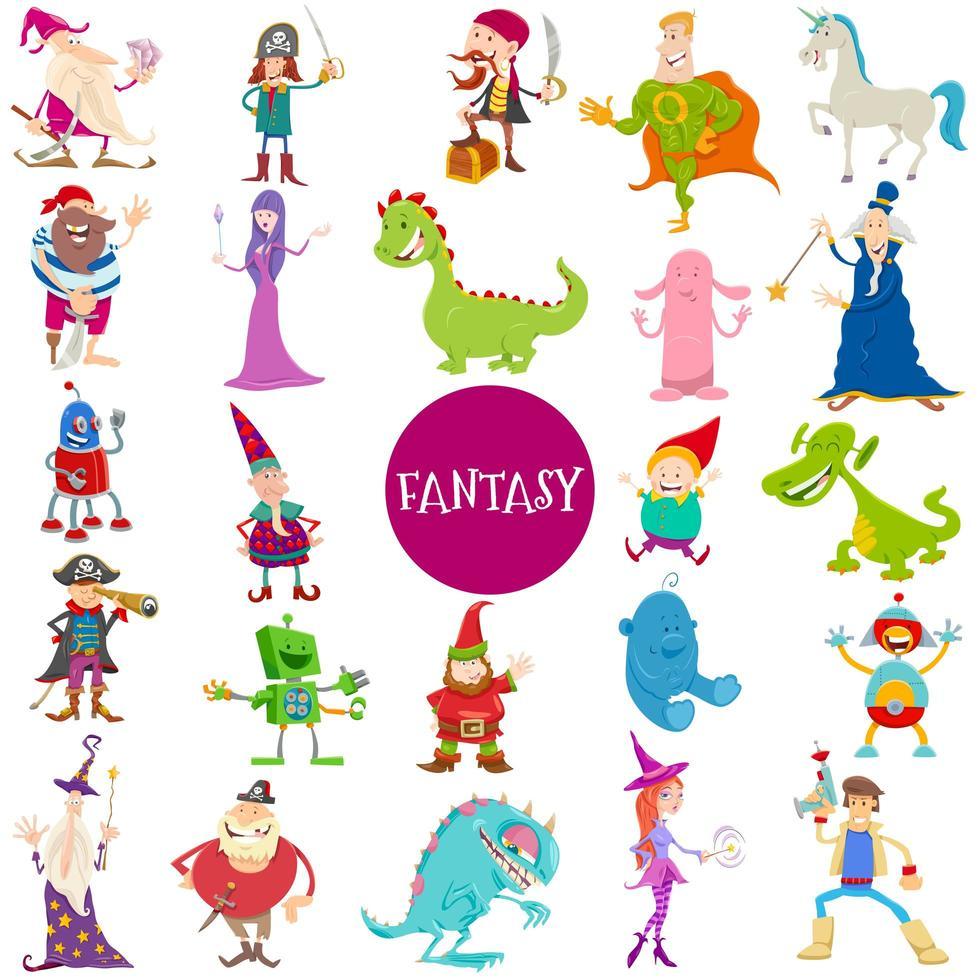 grande set di personaggi fantasy dei cartoni animati vettore