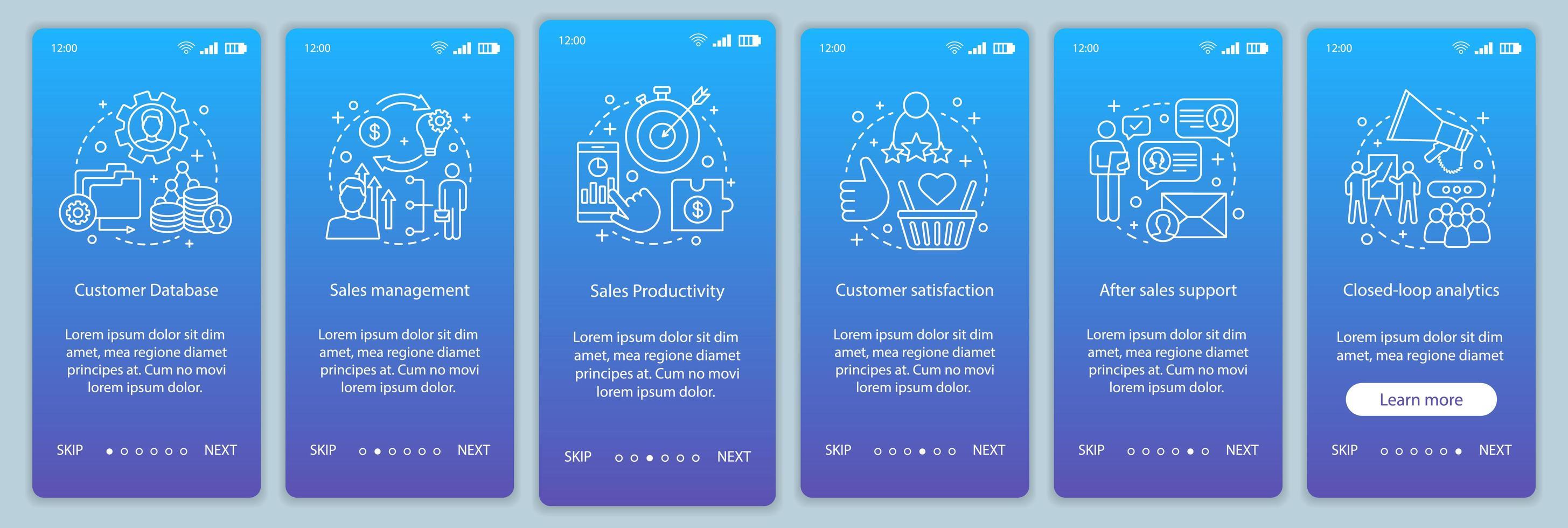 pagina dell'app mobile di marketing onboarding vettore