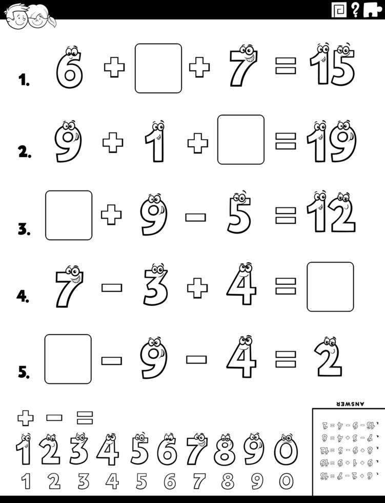 pagina del libro di colore del foglio di lavoro educativo di calcolo vettore