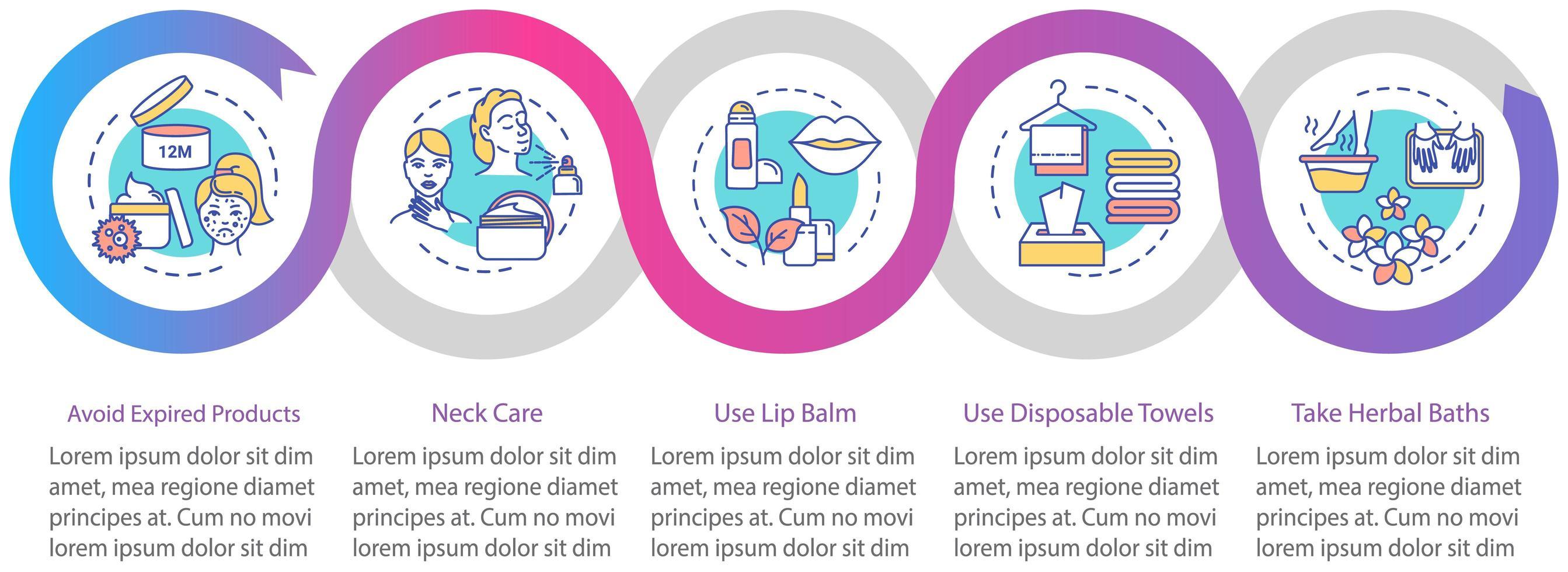modello di infografica per la cura della pelle. vettore