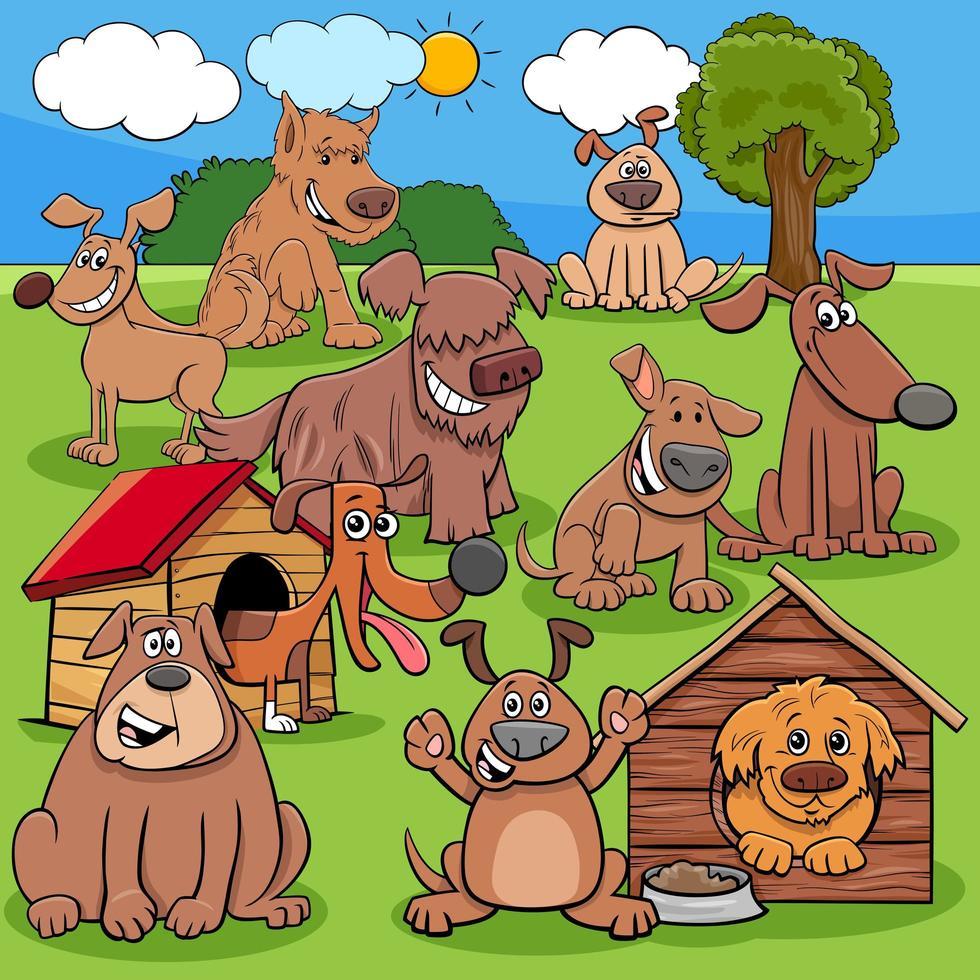 gruppo di personaggi di cani e cuccioli dei cartoni animati vettore