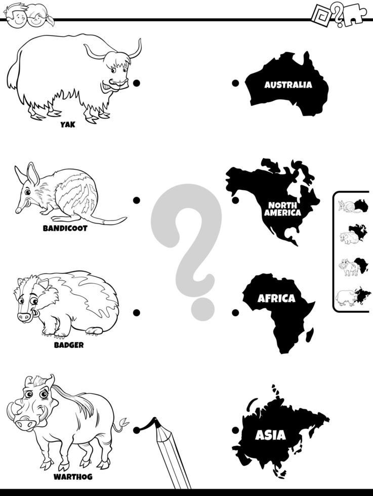 abbina animali e continenti gioco libro da colorare vettore