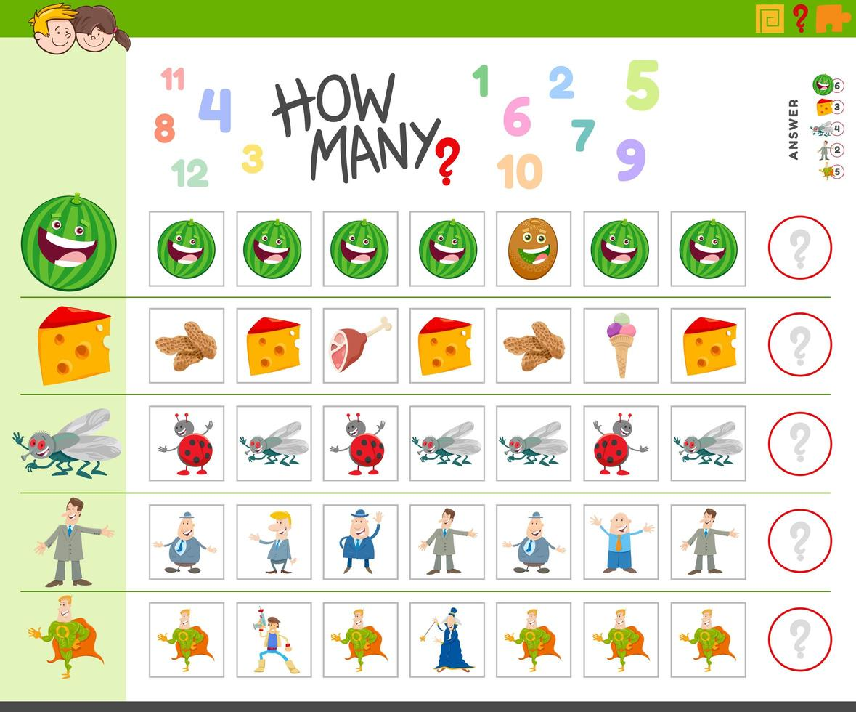 gioco di conteggio per bambini con personaggi dei cartoni animati vettore