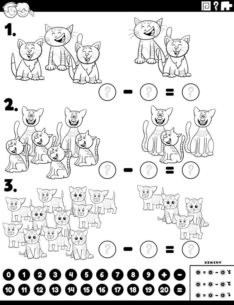 compito educativo di sottrazione con la pagina del libro a colori dei gatti vettore