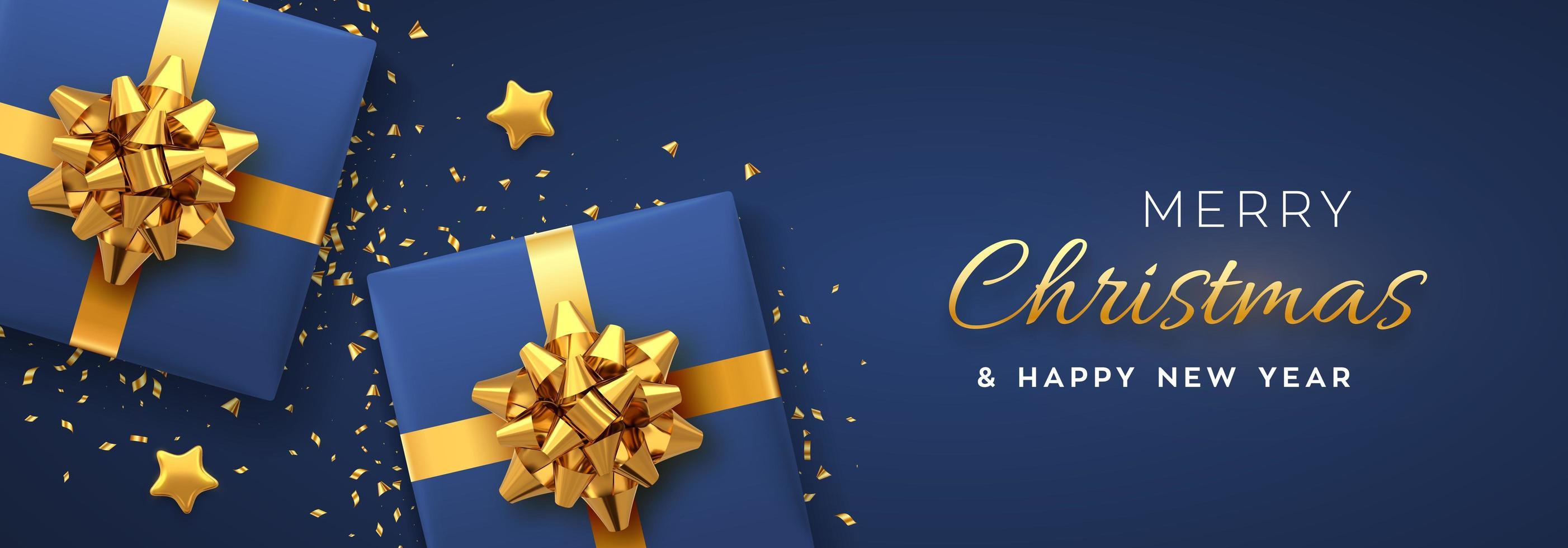 banner di Natale. scatole regalo blu realistiche con fiocchi dorati vettore