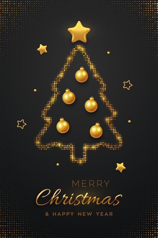 biglietto di auguri di Natale con albero di Natale dorato astratto vettore